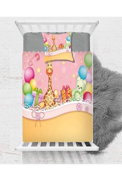 Else Renkli Balonlar Zürafa Ayı Hayvanlı Çocuk Bebek Yatak Örtüsü