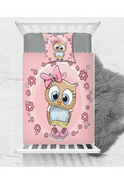 Else Pembe Baykuş Çiçekli Kız Dekoratif Çocuk Bebek Yatak Örtüsü