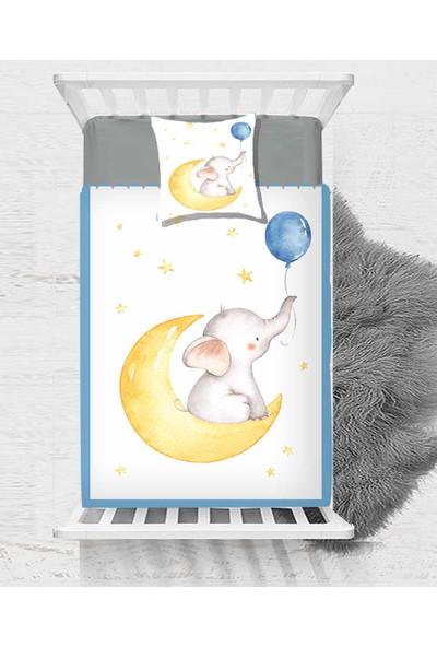 Else Sarı Ay Yıldız Mavi Balonlu Fil Çocuk Bebek Yatak Örtüsü