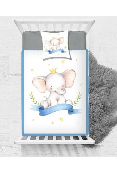 Else Sarı Yıldız Taçlı Mavili Fil Erkek Çocuk Bebek Yatak Örtüsü