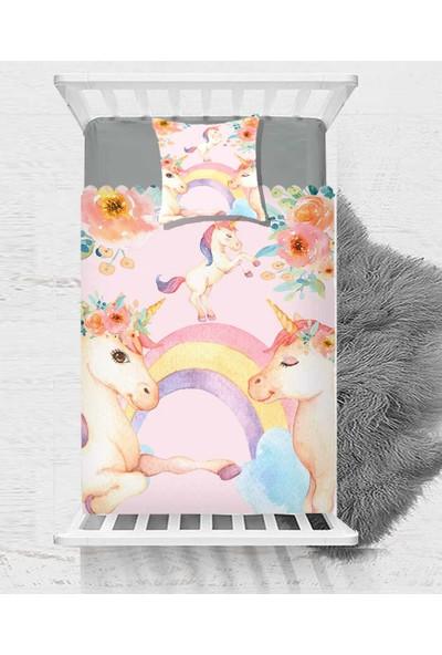 Else Unicorn Pembe Atlar Çiçek Dekoratif Çocuk Bebek Yatak Örtüsü