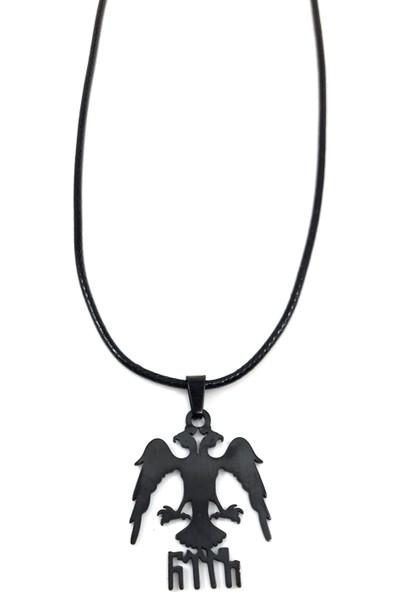 Takı Bijuteri Çift Başlı Kartal Göktürkçe Yazılı Erkek Çelik Kolye - Siyah