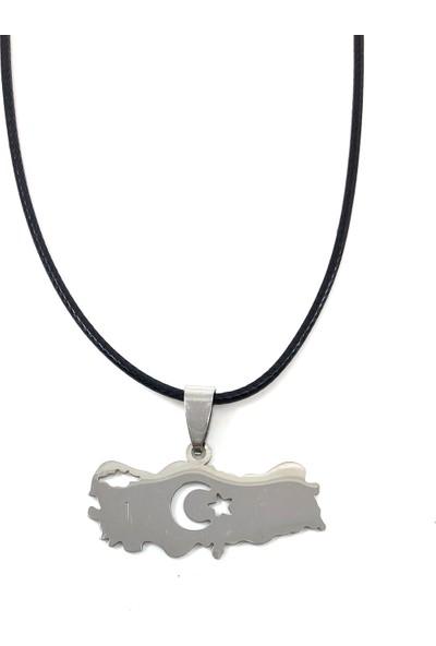 Takı Bijuteri Türkiye Haritalı Çelik Kolye - Gri