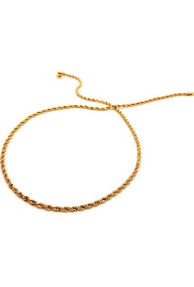 Eurogold Altın Kaplama Burgu Zincir - İnce - 60Cm