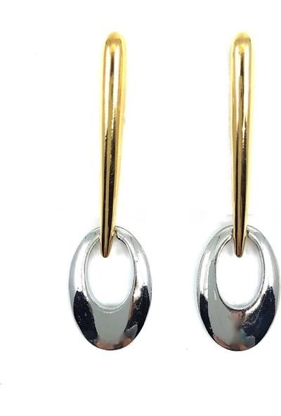 Vitrin Bijuteri Özel Tasarım Gümüş Ve Altın Çubuk Sallantılı Küpe