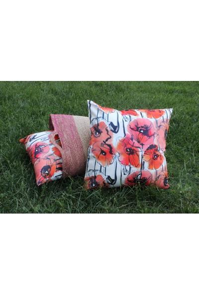 Pilloveland Gelincik Çiçeği Desenli Dekoratif Kırlent Kılıfı 45X45 cm