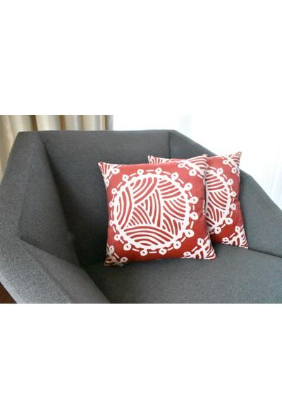 Pilloveland Red Circle Desenli Babyface Kadife Kırlent Kılıfı 40x40 cm