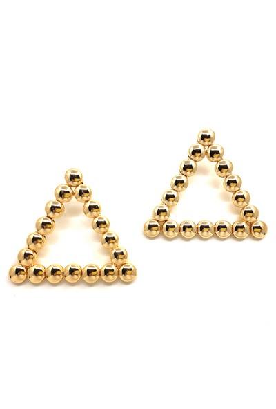 Güçlü Bijuteri Üçgen Altın Yuvarlak Detay Hafif Zara Küpe - Altın