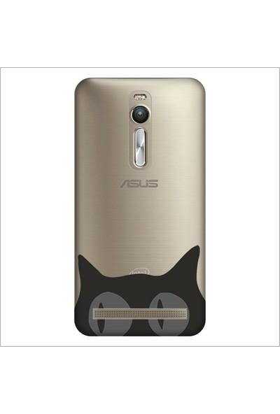 Cupcase Asus Zenfone 2 (ZE551ML) Kılıf Desenli Silikon Kapak + Nano Glass Cam - Şaşkın Kedi