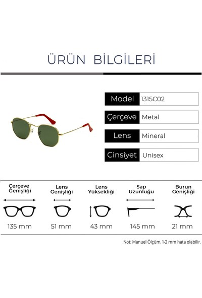 Zolo Eyewear 1315 C02 Hexagon Unisex Güneş Gözlüğü