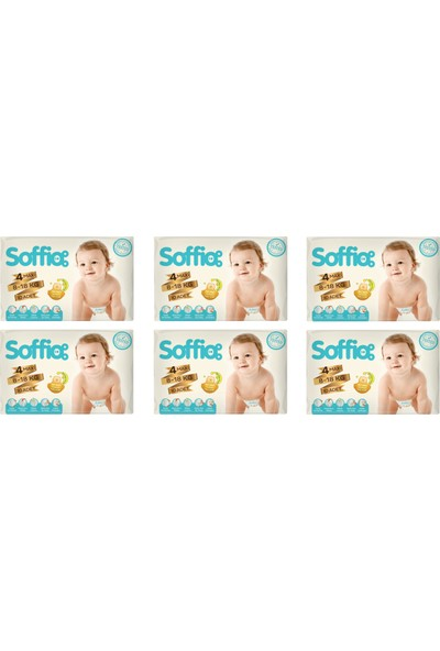 Soffio 4 Numara 30X6=180 Adet Bebek Bezi 8-18 kg 6'lı Paket
