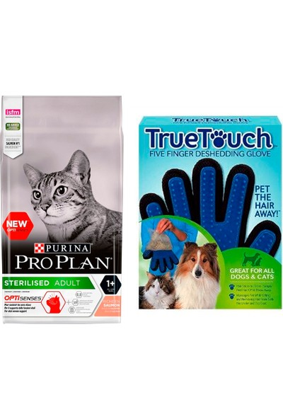 Pro Plan Cat Kısırlaştırılmış Sterilised Salmon & Tuna 1,5 kg Kedi Maması + Bobo Touch Kedi Tüy Toplama Eldiveni