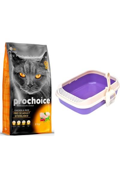 Prochoice Pro 32 Tavuk ve Pirinçli Kısırlaştırılmış Kedi Kuru Mama 2 kg + Krax Lüks Kedi Tuvaleti