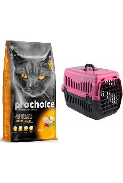 Prochoice Pro 32 Tavuk ve Pirinçli Kısırlaştırılmış Kedi Kuru Mama 2 kg + Pet Style Taşıma Çantası 49 cm Pembe