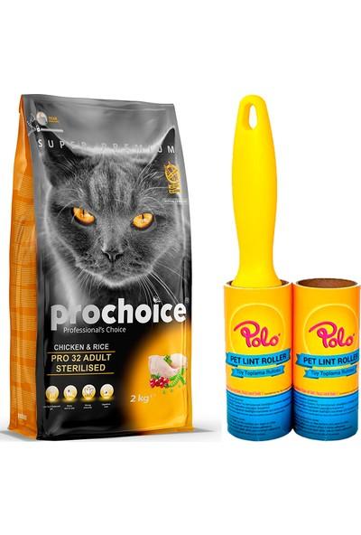 Prochoice Pro 32 Tavuk ve Pirinçli Kısırlaştırılmış Kedi Kuru Mama 2 kg + Polo Kedi Tüy Toplama Rulosu