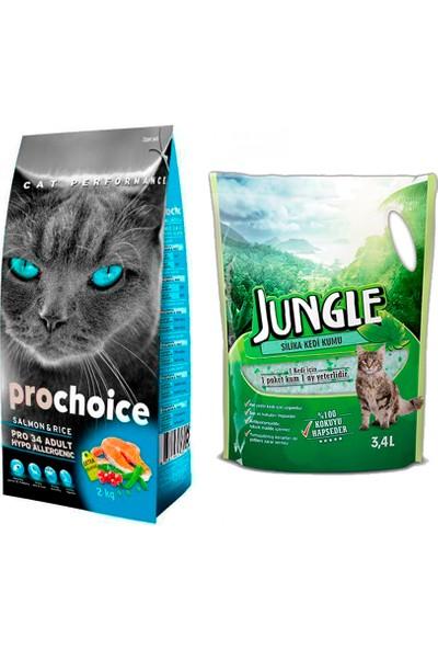 Prochoice Pro 34 Somon ve Pirinçli Kedi Kuru Mama 2 kg + Jungle Silica Kristal Kedi Kumu 3,4 l