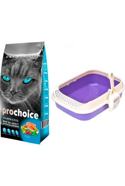 Prochoice Pro 34 Somon ve Pirinçli Kedi Kuru Mama 2 kg + Krax Lüks Kedi Tuvaleti