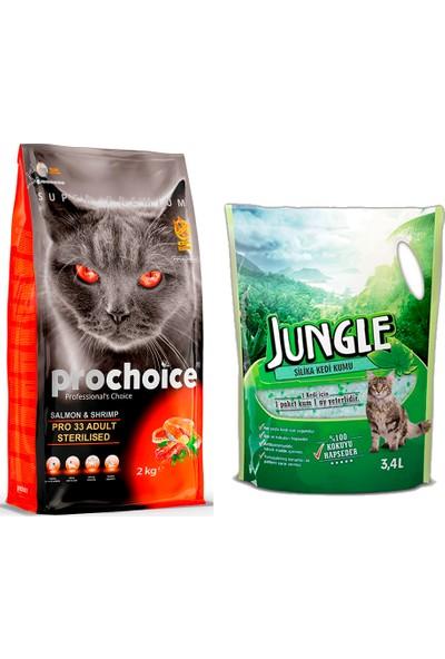Prochoice Somon & Karides Pro 33 Yetişkin Kısırlaştırılmış Kedi Maması 2 kg + Jungle Silica Kristal Kedi Kumu 3,4 l