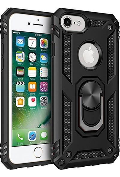 LionTech Apple iPhone 7 Kılıf Zırh Koruma Yüzüklü Standlı Armor Silikon Kapak Siyah
