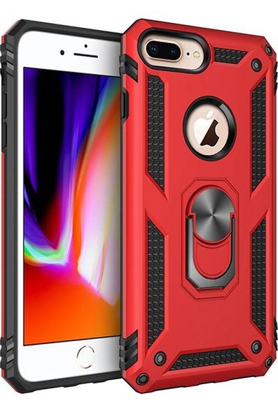 LionTech Apple iPhone 7 Plus Kılıf Zırh Koruma Yüzüklü Standlı Armor Silikon Kapak + Nano Ekran Koruma Kırmızı