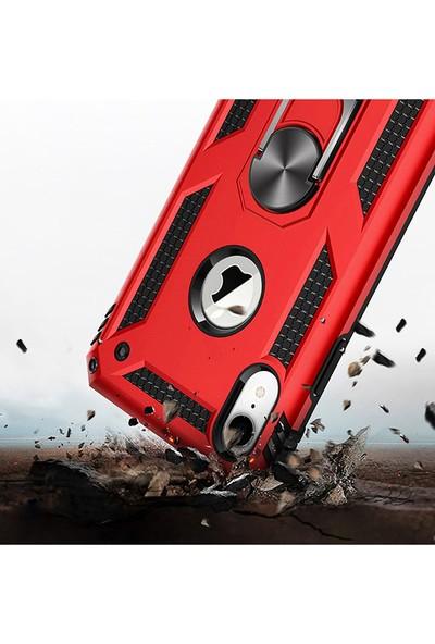 LionTech Apple iPhone XR Kılıf Zırh Koruma Yüzüklü Standlı Armor Silikon Kapak Kırmızı