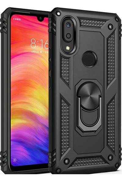 LionTech Huawei P Smart 2019 Kılıf Zırh Koruma Yüzüklü Standlı Armor Silikon Kapak + Ekran Koruma Siyah