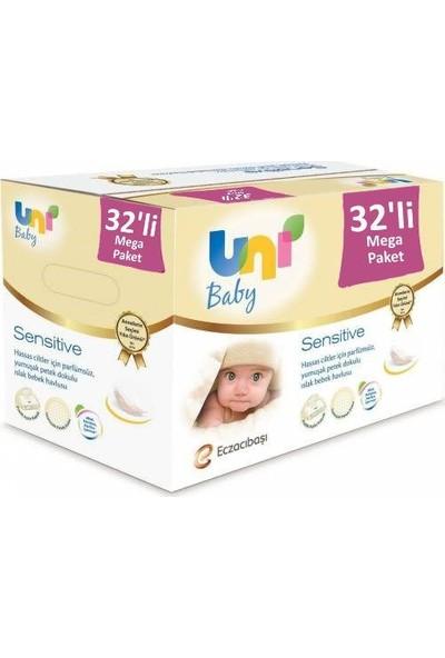 Uni Baby Sensitive Kapaklı Islak Mendil Havlu 32 Paket 1792 Yaprak