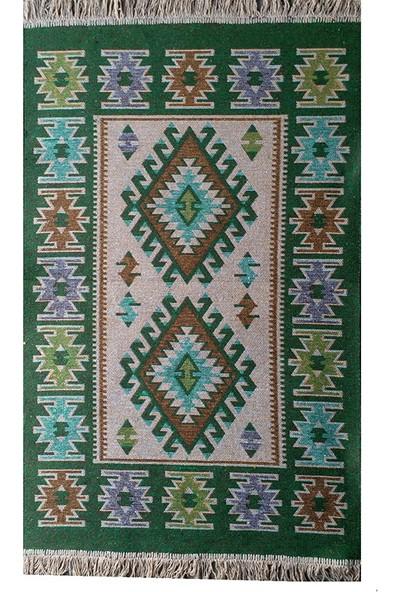 Uşak Kilimi - Yeşil Renk Çift Taraflı Antik Tarz Eşme Desen Kilim Yolluk Lidya Tekstil