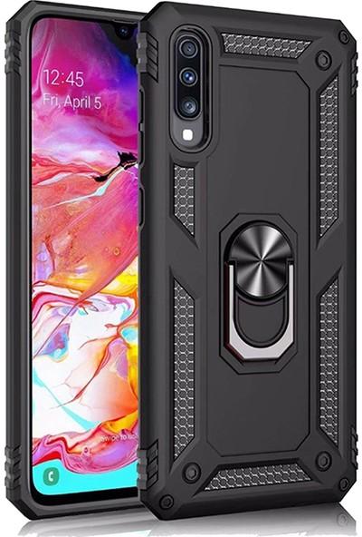LionTech Samsung Galaxy A50 Kılıf Zırh Koruma Yüzüklü Standlı Armor Silikon Kapak Siyah