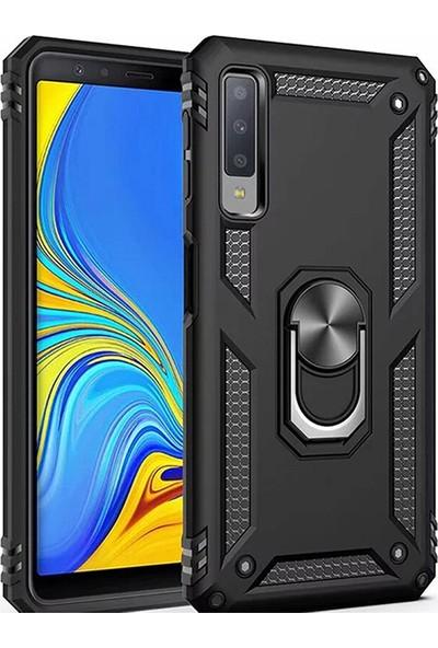 LionTech Samsung Galaxy A7 2018 Kılıf Zırh Koruma Yüzüklü Standlı Armor Silikon Kapak Siyah