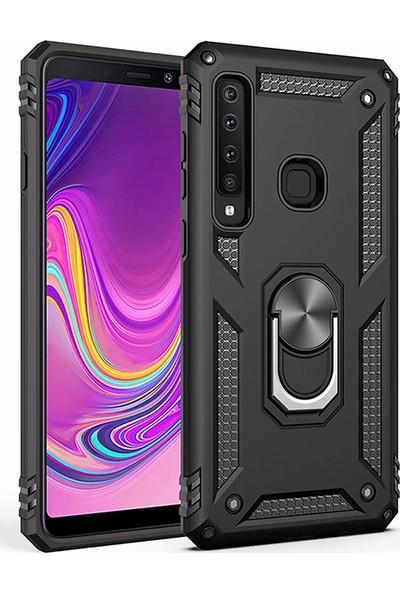 LionTech Samsung Galaxy A9 2018 Kılıf Zırh Koruma Yüzüklü Standlı Armor Silikon Kapak Siyah