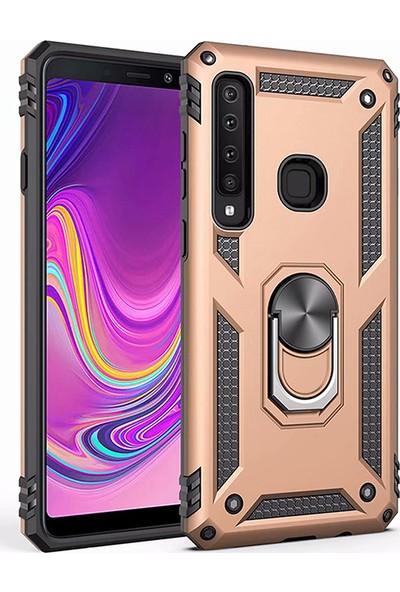 LionTech Samsung Galaxy A9 2018 Kılıf Zırh Koruma Yüzüklü Standlı Armor Silikon Kapak Gold