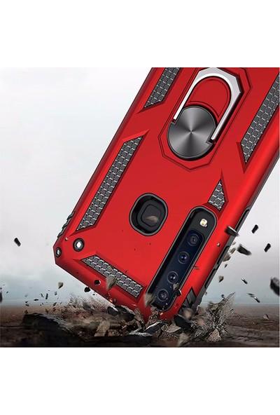LionTech Samsung Galaxy A9 2018 Kılıf Zırh Koruma Yüzüklü Standlı Armor Silikon Kapak Kırmızı