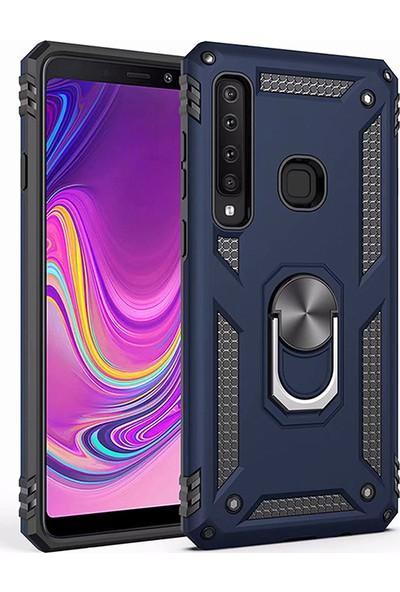 LionTech Samsung Galaxy A9 2018 Kılıf Zırh Koruma Yüzüklü Standlı Armor Silikon Kapak Mavi