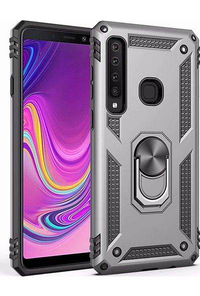 LionTech Samsung Galaxy A9 2018 Kılıf Zırh Koruma Yüzüklü Standlı Armor Silikon Kapak Gri