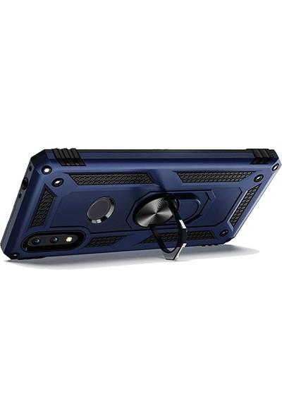 LionTech Samsung Galaxy M20 Kılıf Zırh Koruma Yüzüklü Standlı Armor Silikon Kapak + Ekran Koruma Mavi
