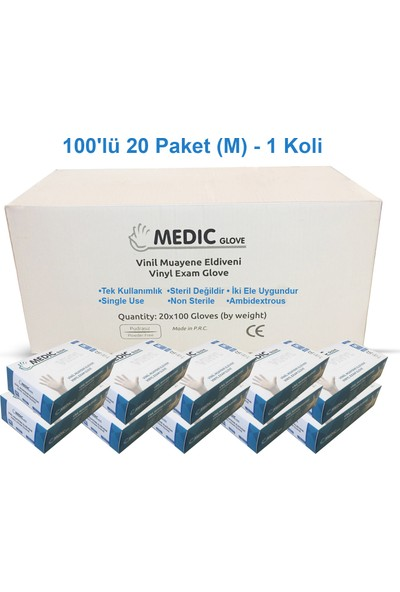 Medic Glove Vi̇ni̇l (Vinyl) Pudrasız Eldi̇ven (Medium) x 20 Paket - 1 Koli