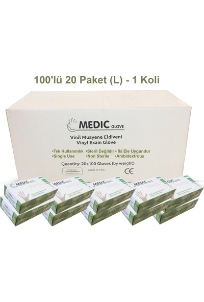 Medic Glove Vi̇ni̇l (Vinyl) Pudrasız Eldi̇ven (Large) x 20 Paket - 1 Koli