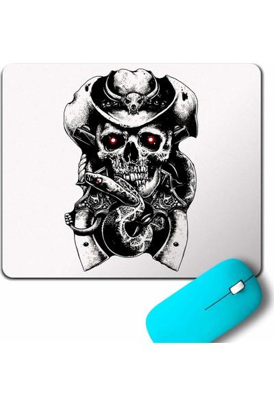 Kendim Seçtim Skull Fear Hat Guns Snake Kovboy Kuru Kafa Mouse Pad
