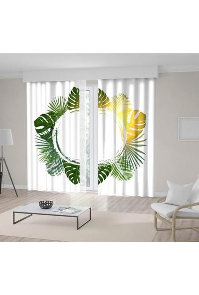 Henge Yeşil Palmiye Yapraklı Tropikal Desenli Fon Perde