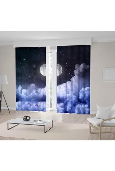 Henge Ay Ve Yıldız İle Bulutlu Gece Gökyüzü Desenli Fon Perde