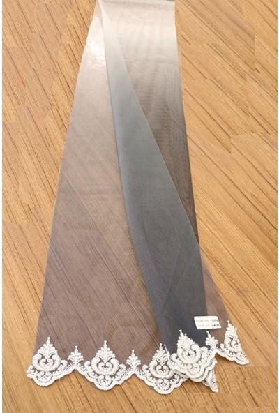 Caserta Home Sık Pileli 1/3 Duru Degrade Antrasit Tül Fon Perde - 60x200 cm