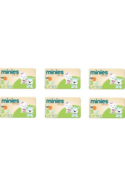 Minies 3 Numara Bebek Bezi 4-9 kg 50 x 6 - 300 Adet 6'lı Paket