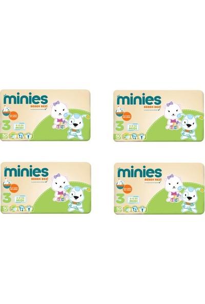 Minies 3 Numara Bebek Bezi 4-9 kg 50x 4 - 200 Adet 4'lü Paket