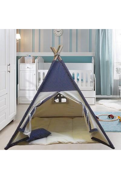 Altev Ahşap Çoçuk Çadırı Kızılderili Çadırı Oyun Evi Kamp Çadırı - Puantiyeli