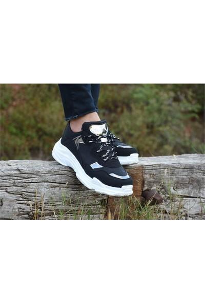 Free Marka Fm-5420 Günlük Rahat Kadın Spor Ayakkabı Siyah Beyaz
