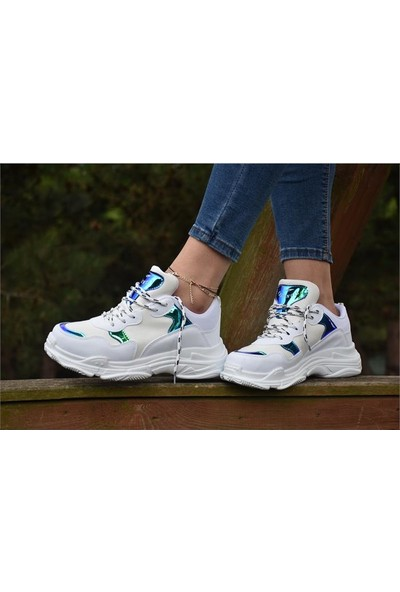 Free Marka Fm-5420 Günlük Rahat Kadın Spor Ayakkabı Beyaz Lacivert