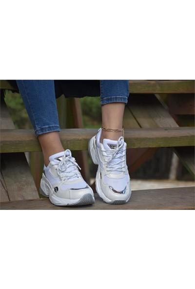 Free Marka 6260 Beyaz Gümüş Kadın Spor Ayakkabı