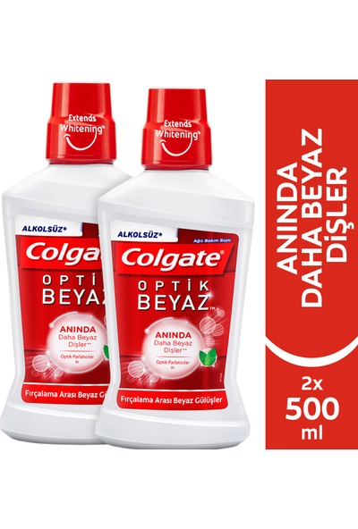 Colgate Plax Optik Beyaz Alkolsüz Gargara 500 ml x 2 Adet