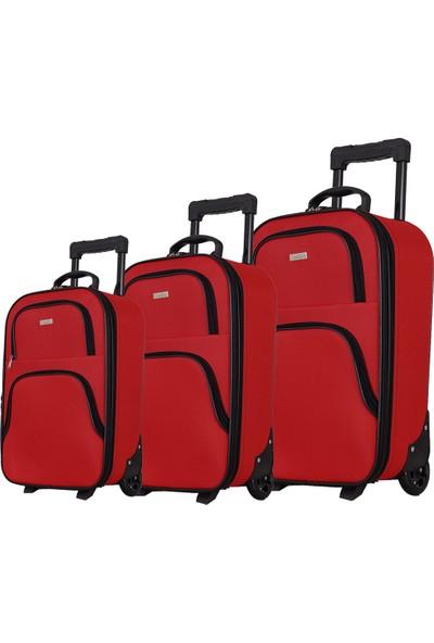 Mgv 002 Kumaş Valiz Seti Kırmızı